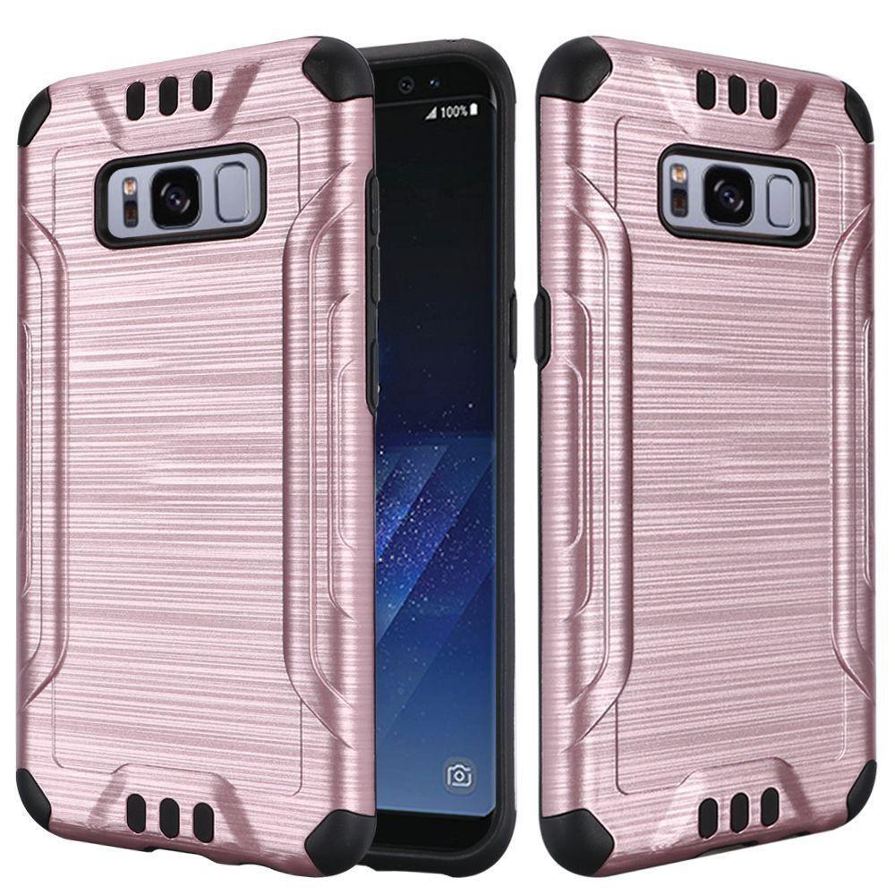 - Brushed Metal Design Combat Hybrid Rugged Case, Rose Gold/Black for Samsung Galaxy S8