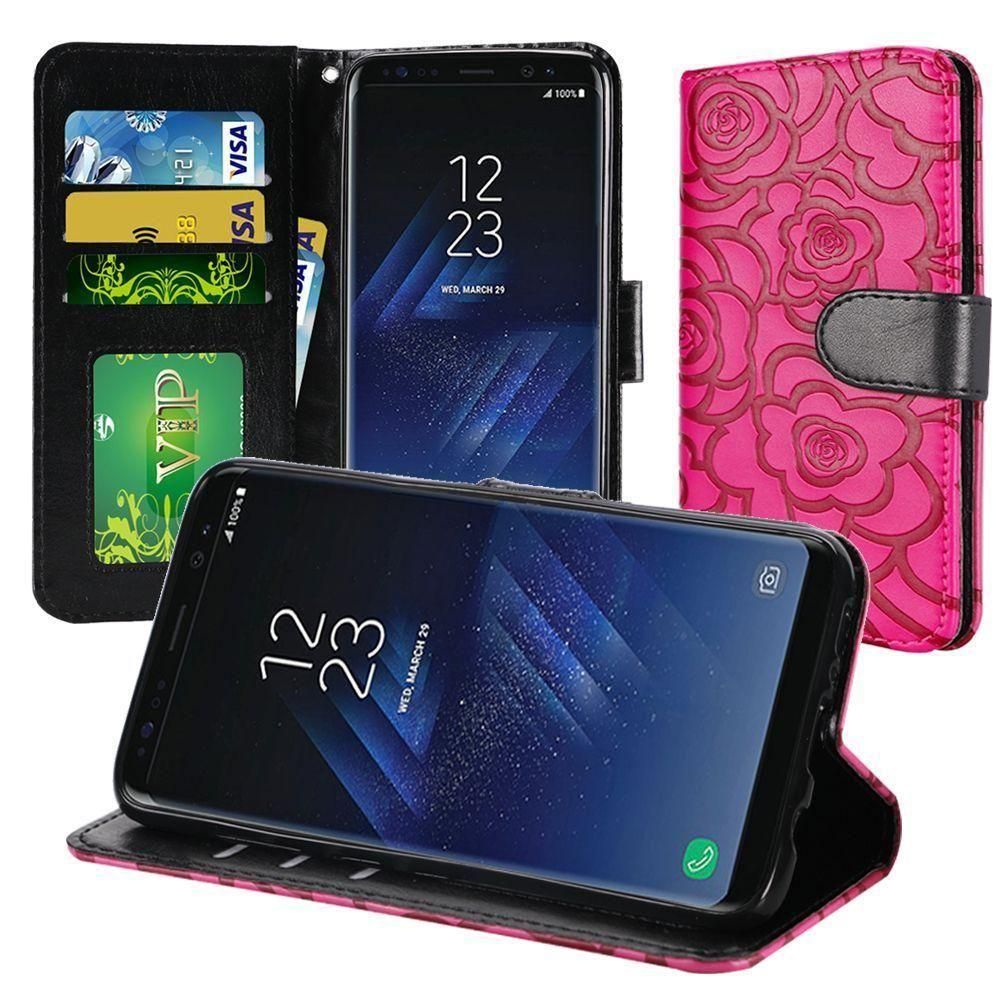 - Embossed Flower Design Folding Wallet Case with Wristlet strap, Pink/Black for Samsung Galaxy S8