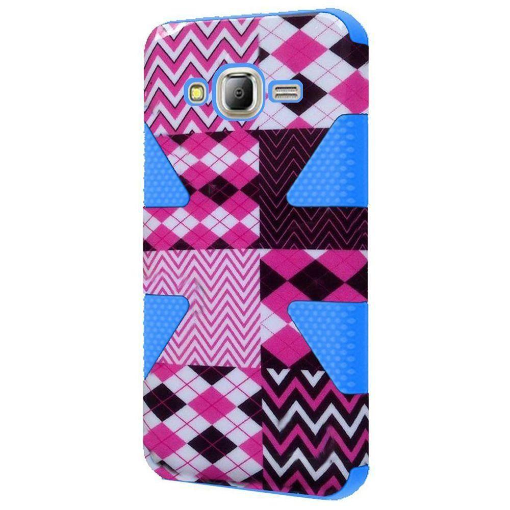 - Chevron Dynamic Rugged Case, Pink/Baby Blue for Samsung Galaxy S7