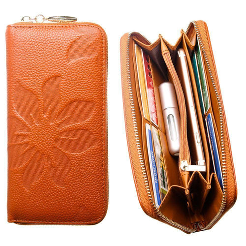 Zte Midnight Z768g - Genuine Leather Embossed Flower Design Clutch, Camel