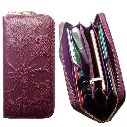 Pantech Breeze C520 - Genuine Leather Embossed Flower Design Clutch, Purple