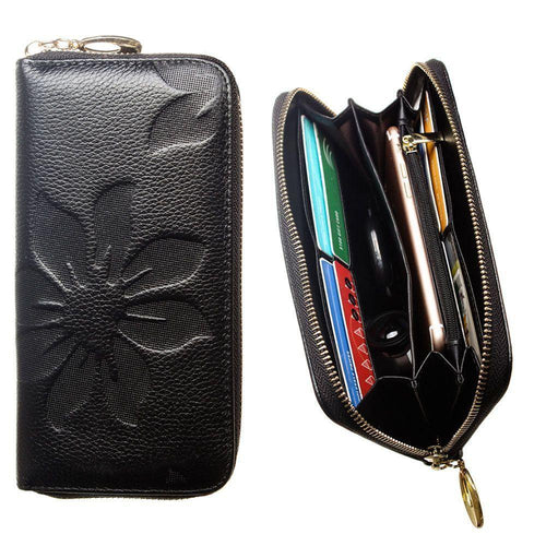 Zte Engage - Genuine Leather Embossed Flower Design Clutch, Black