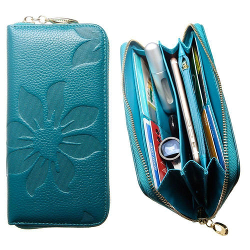 Pantech Breeze C520 - Genuine Leather Embossed Flower Design Clutch, Teal Blue