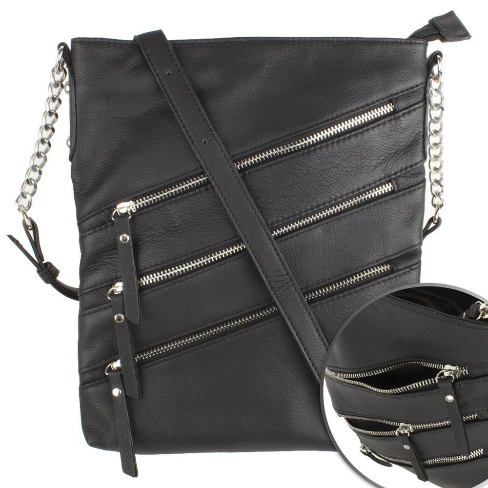 - Genuine Leather Hand-Crafted Crossbody Tote Bag with Triple Side Zippers, Black