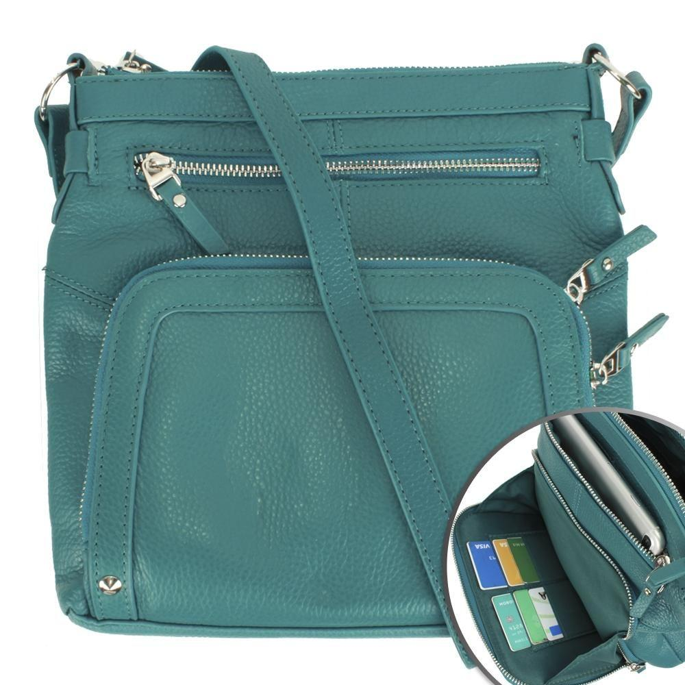 - Genuine Leather Hand-Crafted Crossbody Tote Bag with Studs, Teal
