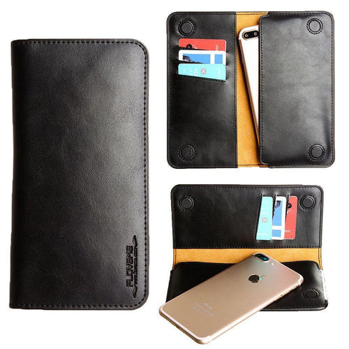 Htc One Remix - Slim vegan leather folio sleeve wallet with card slots, Black