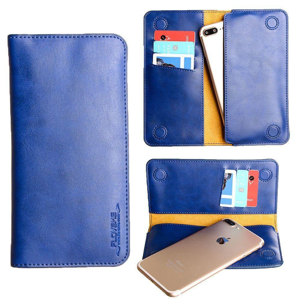 Brands Alcatel Onetouch Fling - Slim vegan leather folio sleeve wallet with card slots, Dark Blue