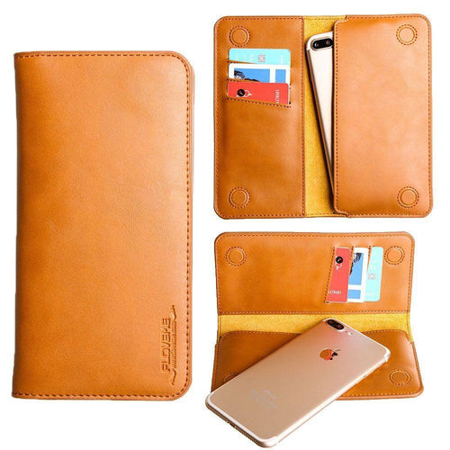 Samsung Galaxy Alpha - Slim vegan leather folio sleeve wallet with card slots, Camel Brown