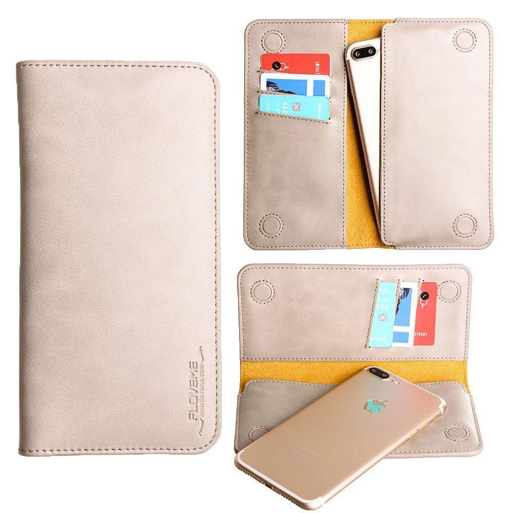 - Slim vegan leather folio sleeve wallet with card slots, Gray