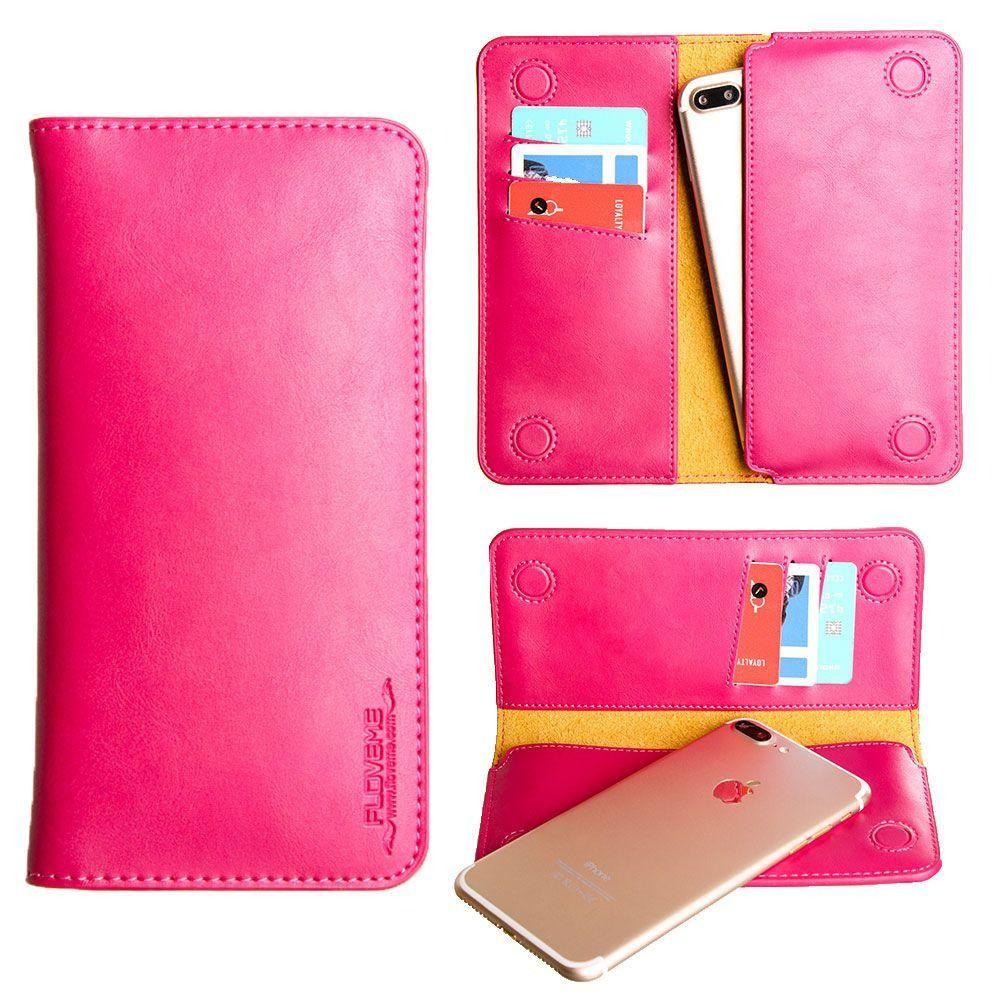- Slim vegan leather folio sleeve wallet with card slots, Hot Pink