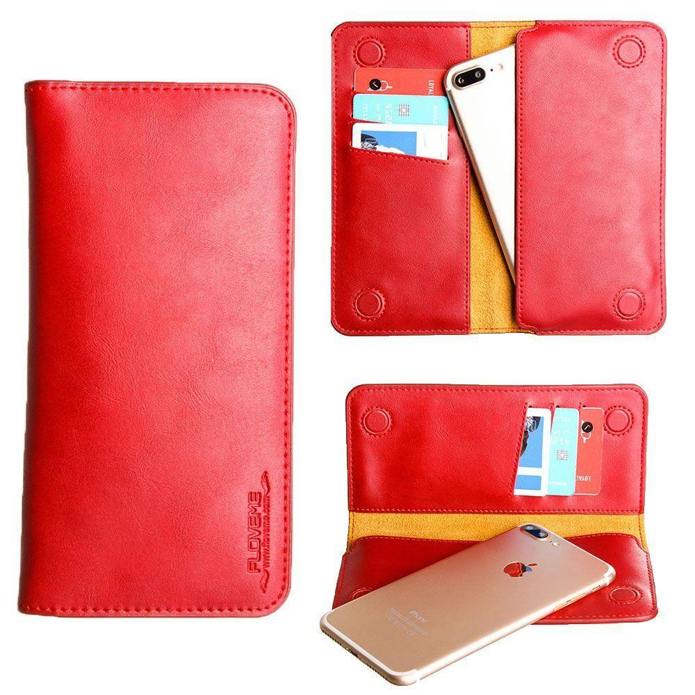 - Slim vegan leather folio sleeve wallet with card slots, Red