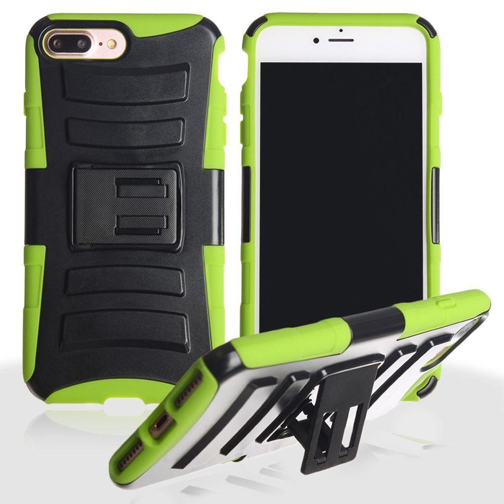 - My.Carbon 3-in-1 Rugged Case with Belt Clip Holster, Black/Neon Green for Apple iPhone 7 Plus/iPhone 8 Plus