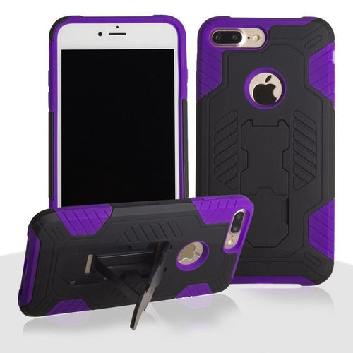 Apple Iphone 8 Plus - Mantas Heavy-Duty Rugged Case with Stand and Holster Combo, Black/Purple for Apple iPhone 7 Plus/iPhone 8 Plus
