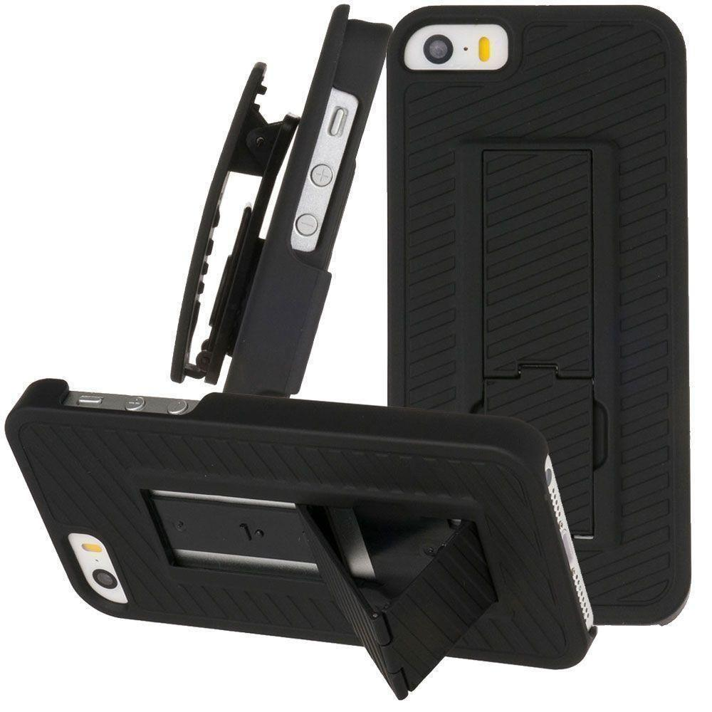 - Diagonal Ribbed Rugged Case with Belt Clip Holster, Black for Apple iPhone 5/iPhone 5s/iPhone SE