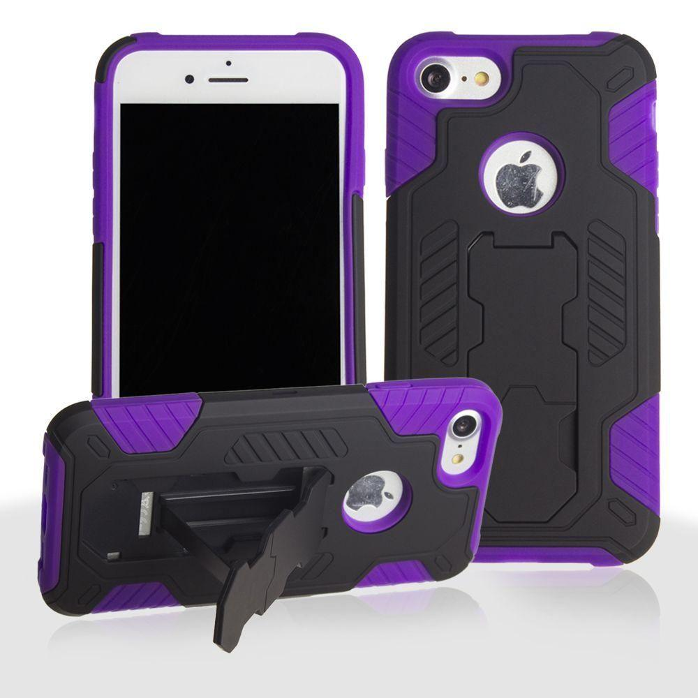 - Mantas Heavy-Duty Rugged Case with Stand and Holster Combo, Black/Purple for Apple iPhone 7/iPhone 8