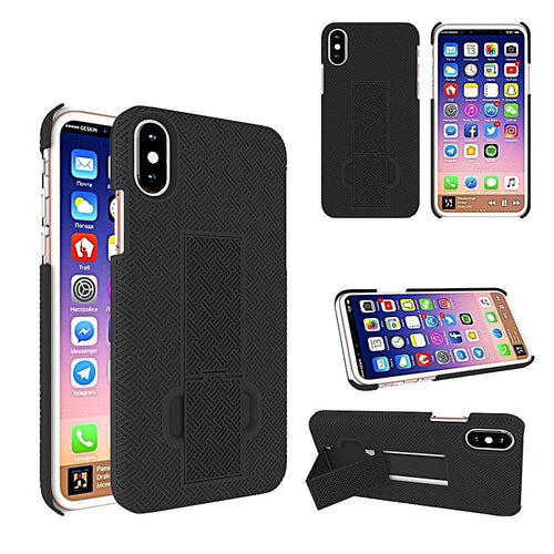 Phone Holders Holsters Belt Clips - 2-in-1 Slim Fit Hard Plastic Case & Holster Combo, Black for Apple iPhone X