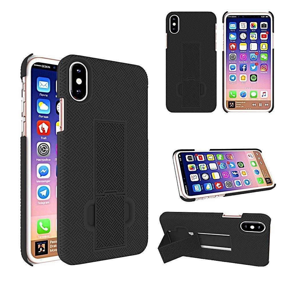 - 2-in-1 Slim Fit Hard Plastic Case & Holster Combo, Black for Apple iPhone X
