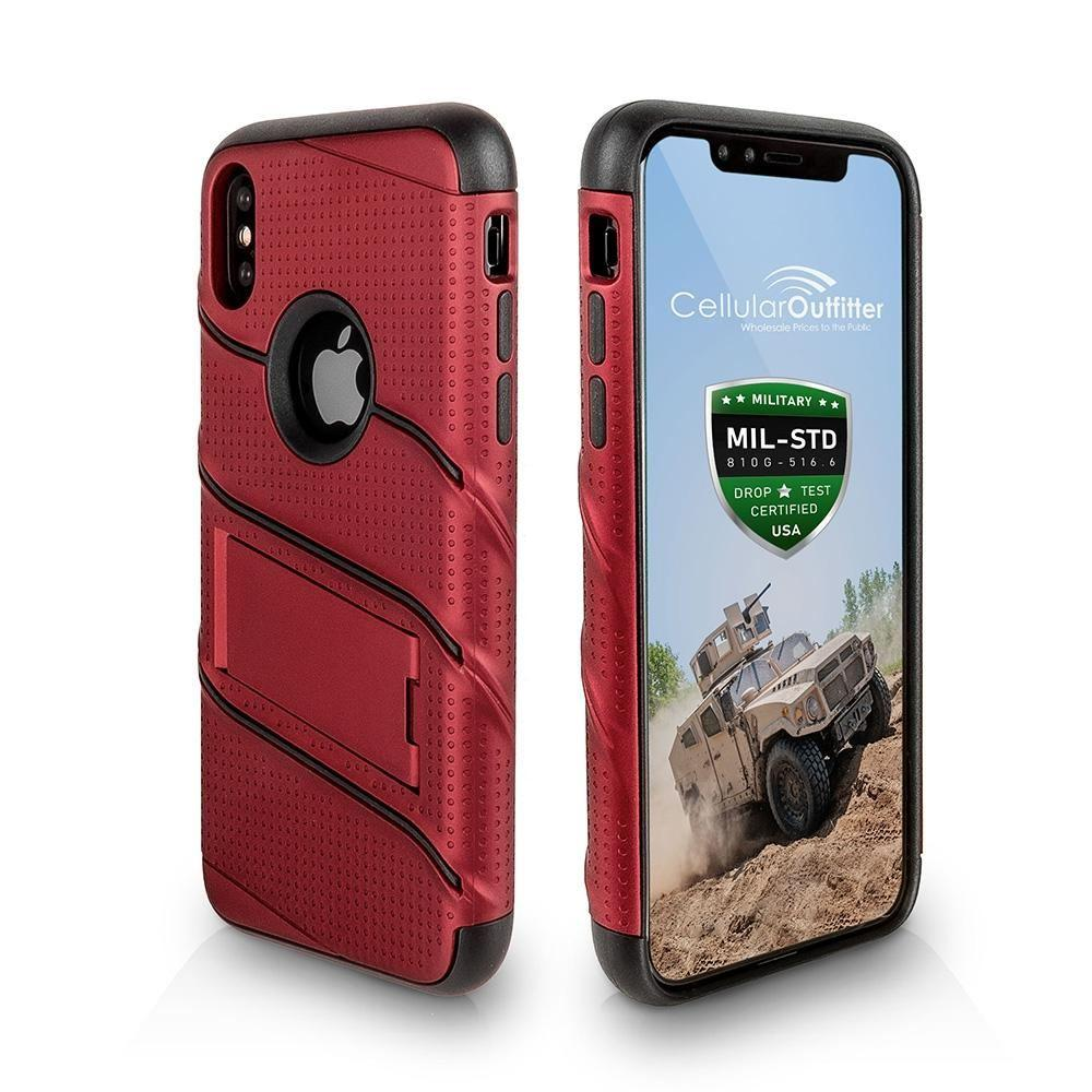 - RoBolt Heavy-Duty Rugged Case and Holster Combo, Red/Black for Apple iPhone X