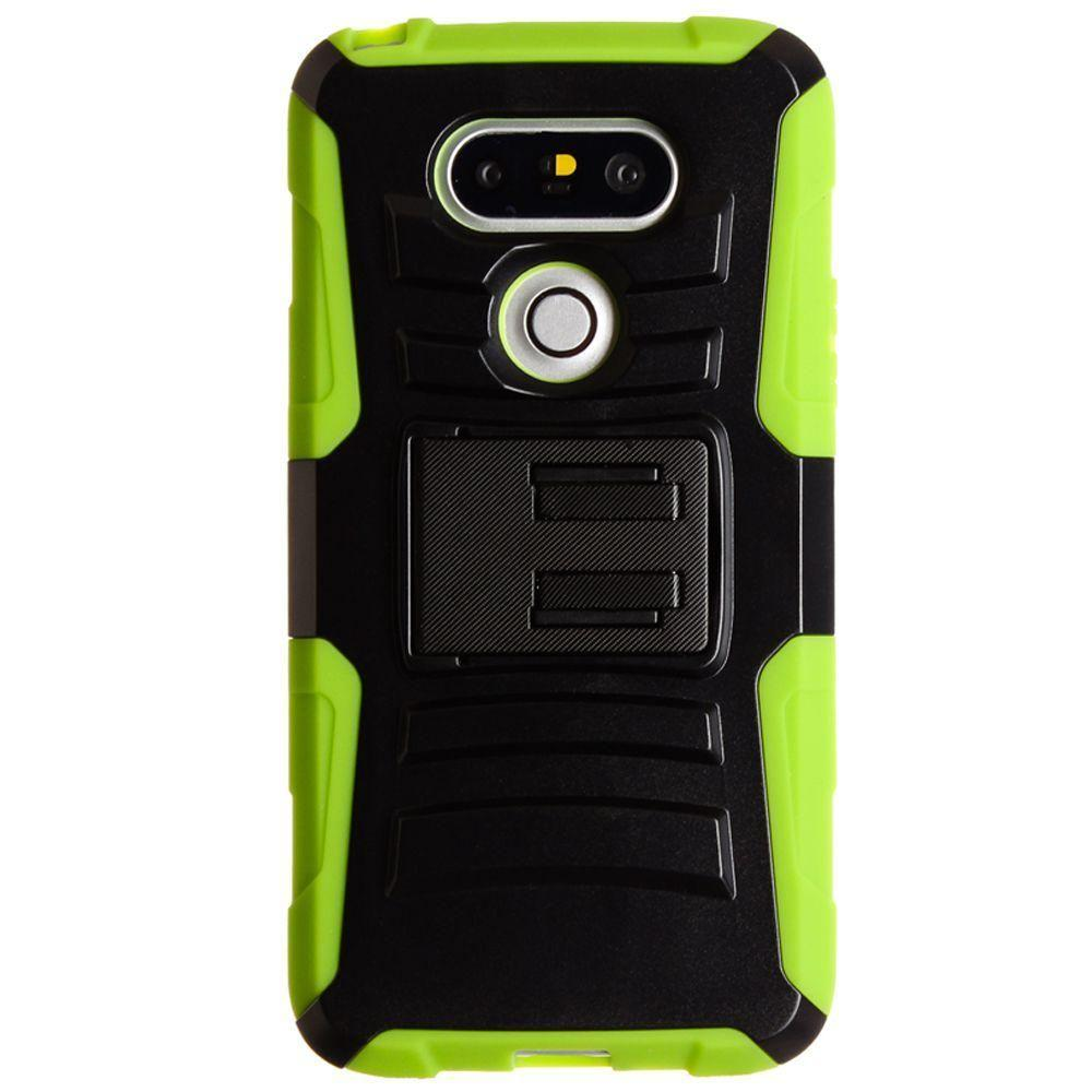 - My.Carbon 3-in-1 Rugged Case with Belt Clip Holster, Black/Neon Green