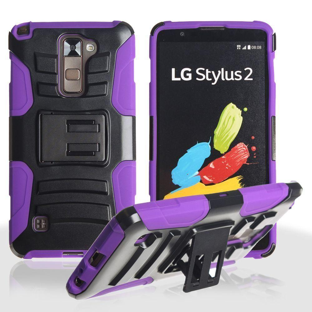 - My.Carbon 3-in-1 Rugged Case with Belt Clip Holster, Black/Purple