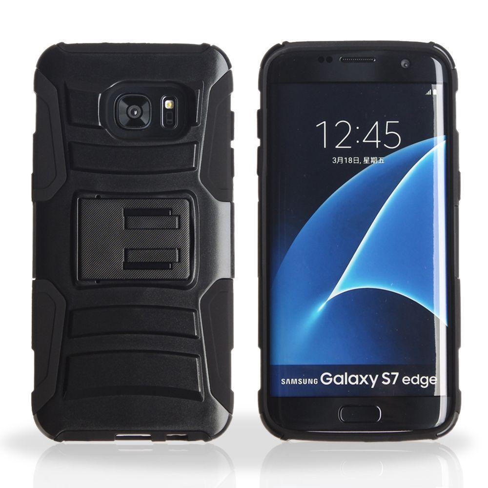 - My.Carbon 3-in-1 Rugged Case with Belt Clip Holster, Black for Samsung Galaxy S7 Edge