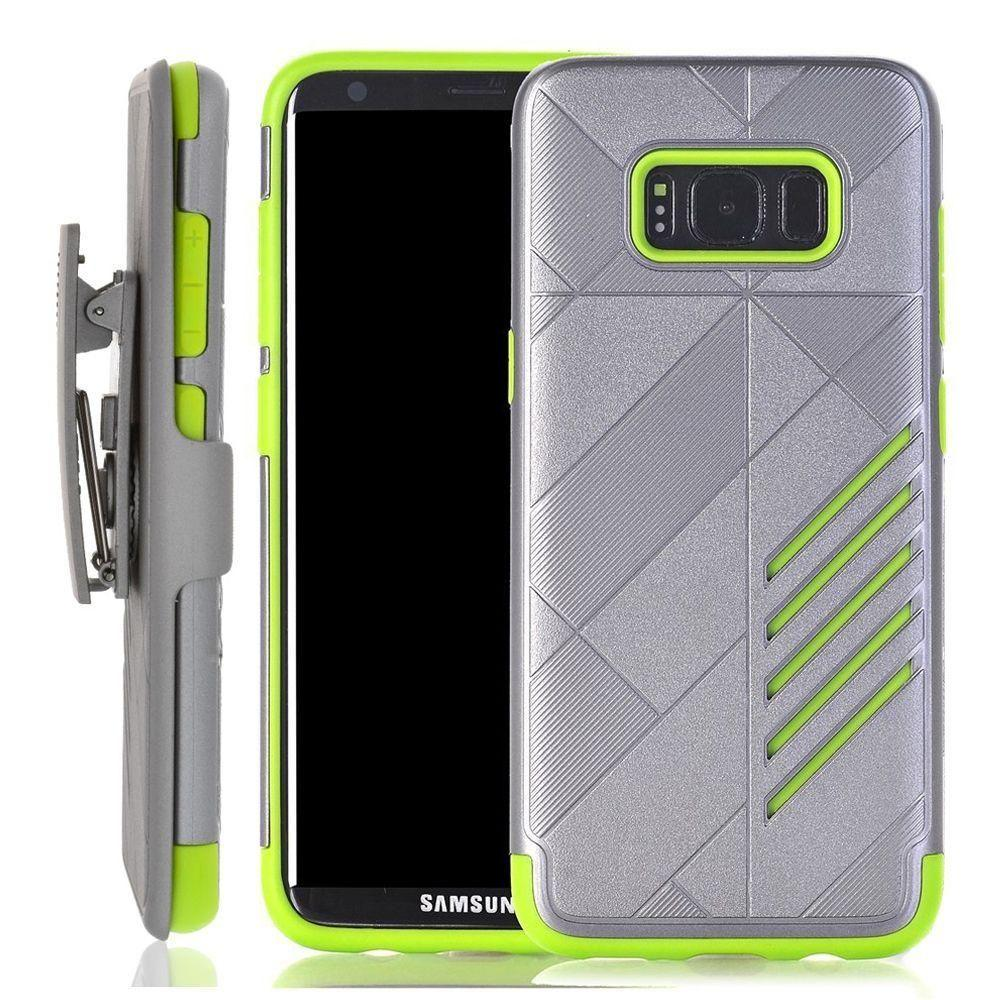 - Slim dual layered hybrid rugged case and holster combo, Gray/Lime Green for Galaxy S8 Plus