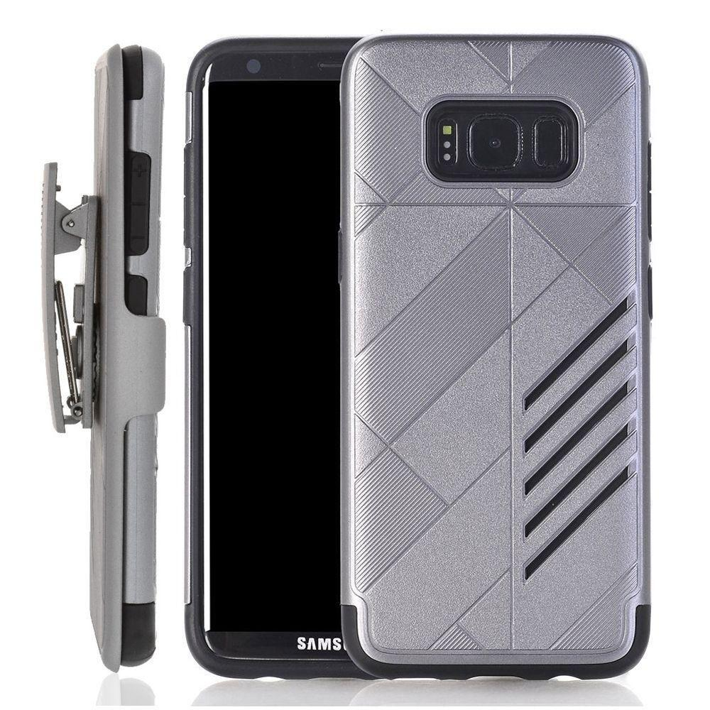 - Slim dual layered hybrid rugged case and holster combo, Gray/Black for Samsung Galaxy S8