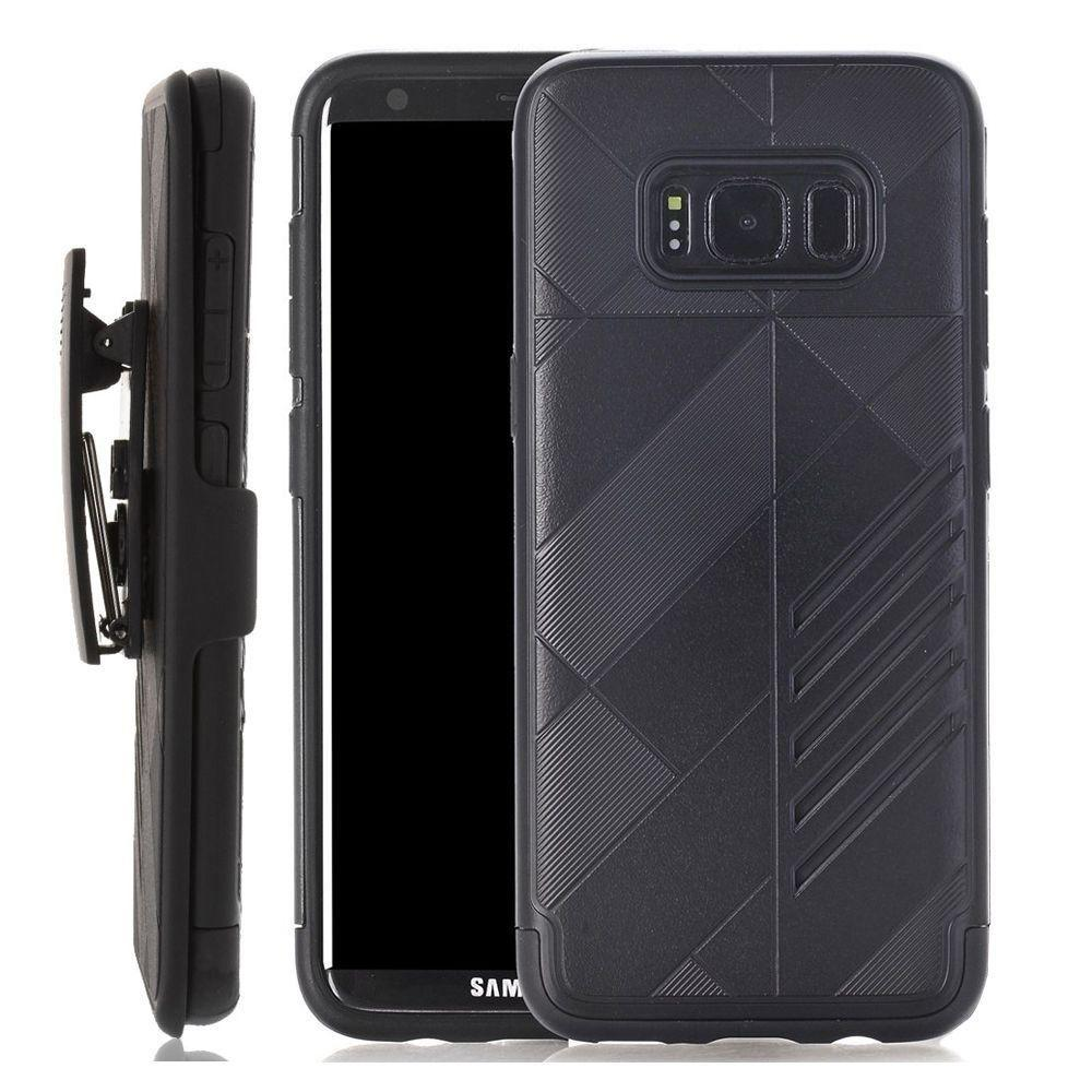- Slim dual layered hybrid rugged case and holster combo, Black for Samsung Galaxy S8
