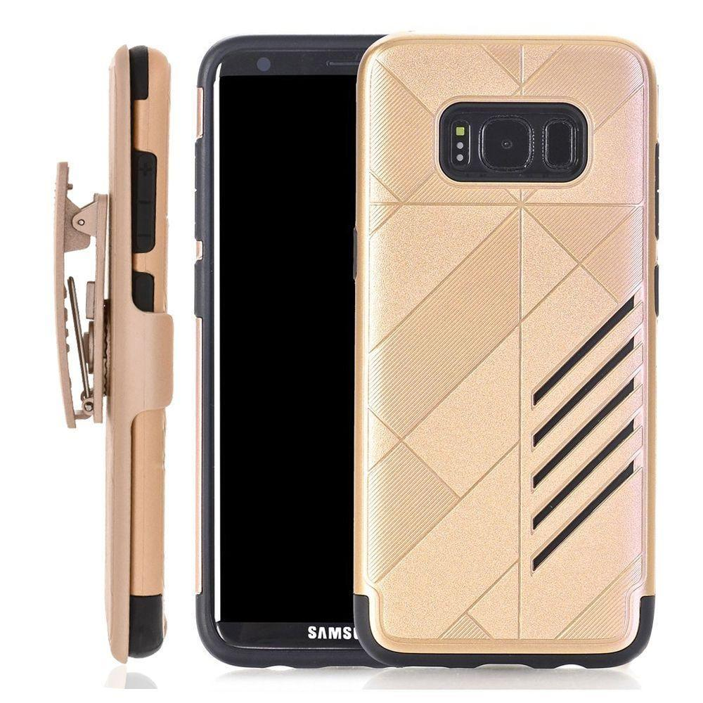- Slim dual layered hybrid rugged case and holster combo, Gold/Black for Galaxy S8 Plus