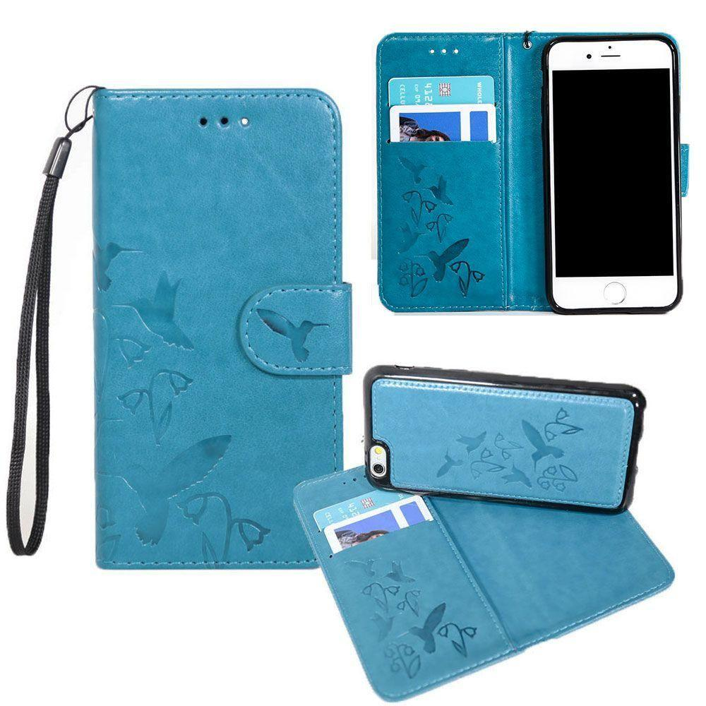 - Embossed Humming Bird Design Wallet Case with Matching Removable Case and Wristlet, Teal Blue for Apple iPhone 6 Plus/iPhone 6s Plus/iPhone 7 Plus/iPhone 8 Plus