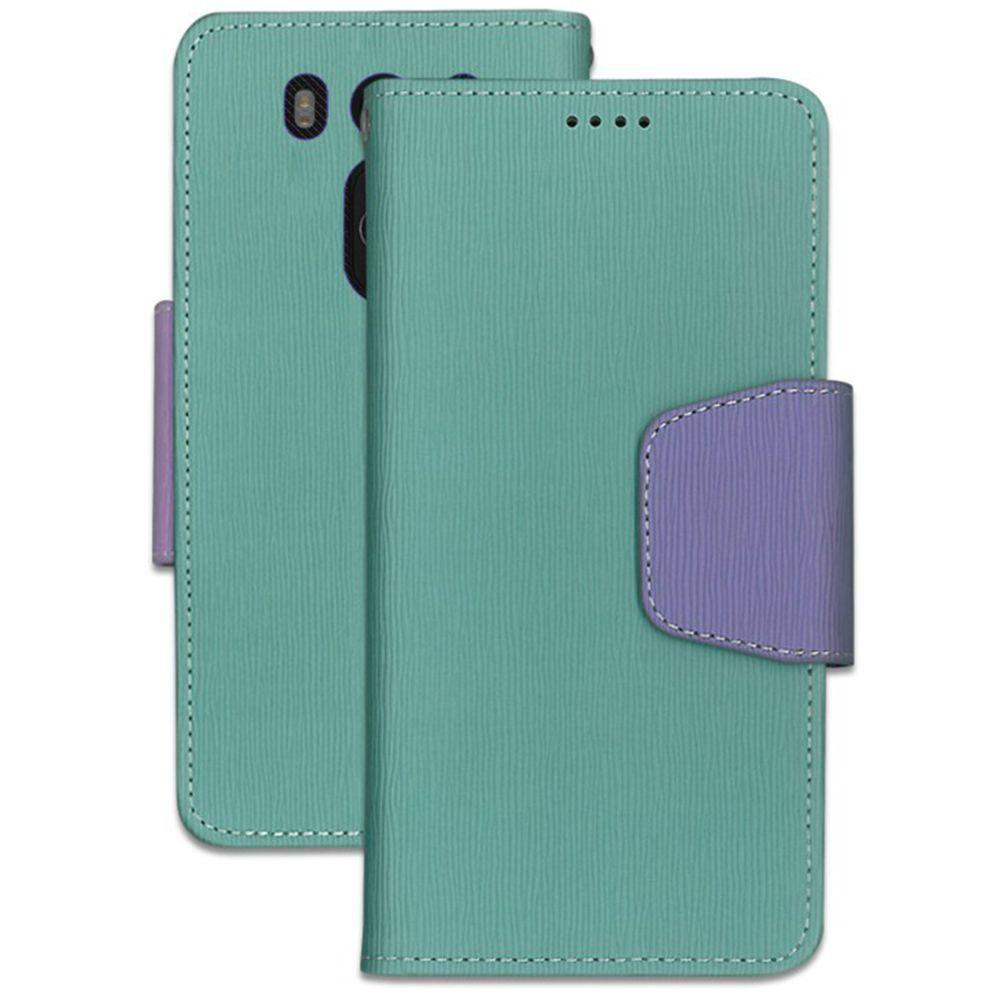 - Infolio Leather Folding Wallet Phone Case, Mint/Purple