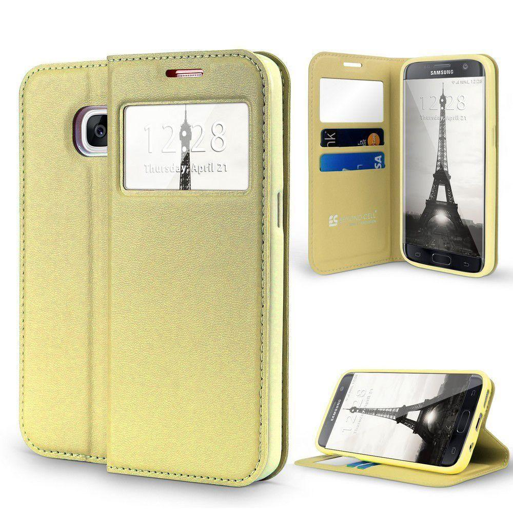 - Open View Card Slot and Stand Wallet Case, Gold for Samsung Galaxy S7