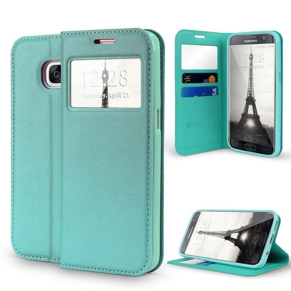 - Open View Card Slot and Stand Wallet Case, Mint for Samsung Galaxy S7