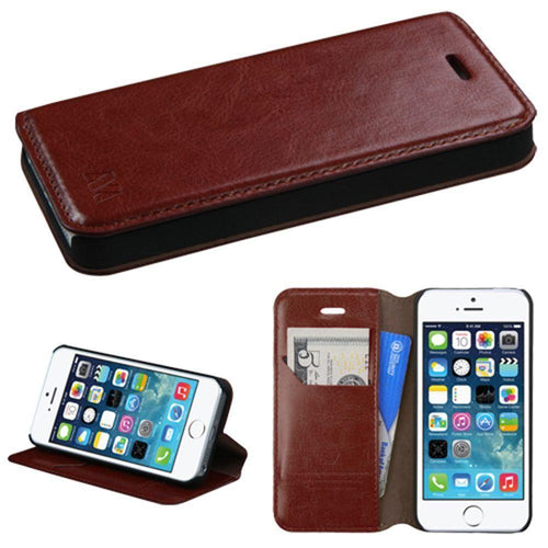 Apple Iphone 5 - Bi-Fold Leather Folding Wallet Case and Stand, Brown for Apple iPhone 5/iPhone 5s/iPhone SE