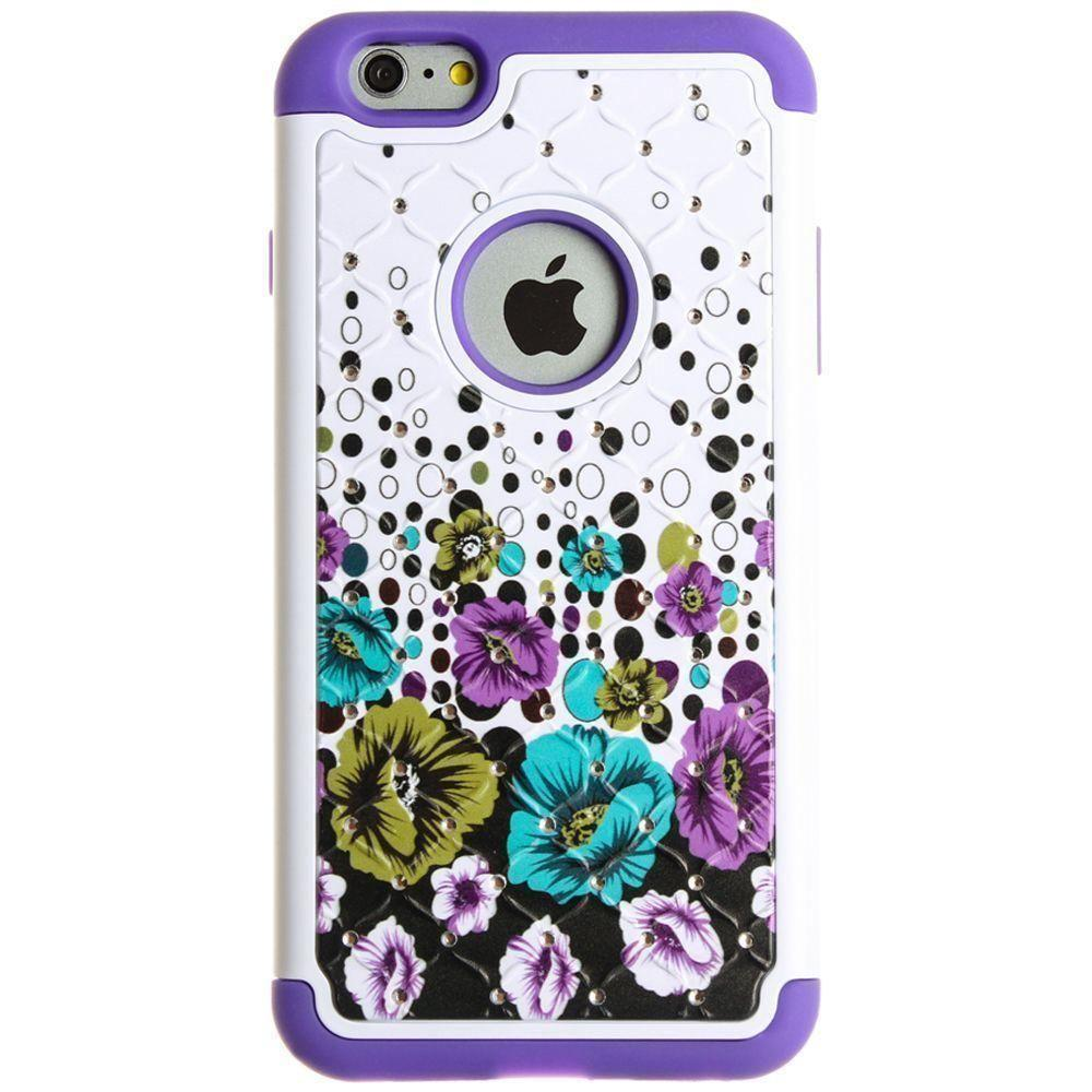 - Flower Cascade Studded Diamond Rugged Case, Purple for Apple iPhone 6 Plus/iPhone 6s Plus