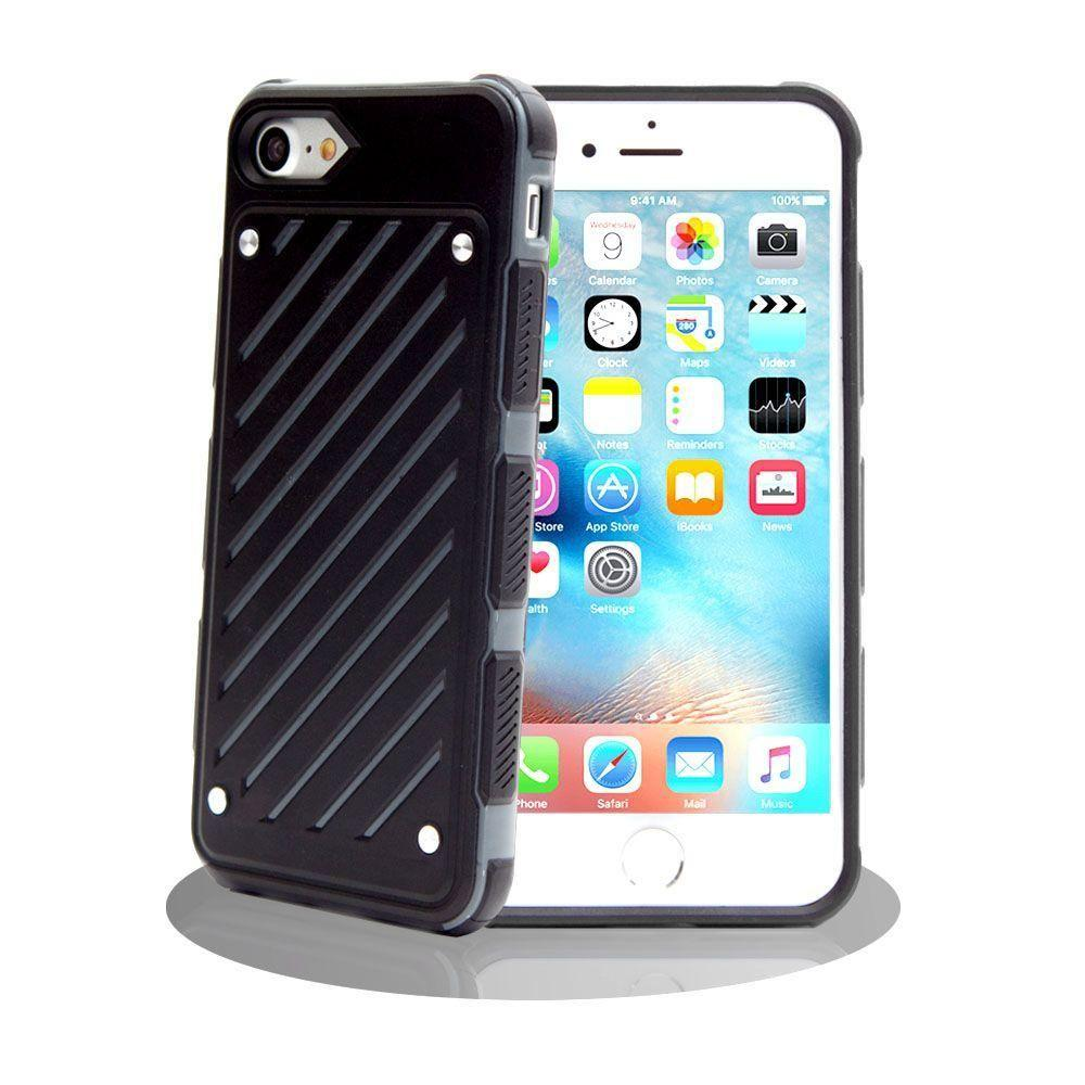 - Stripe Shield Heavy duty rugged case, Black/Gray for Apple iPhone 7 Plus/iPhone 8 Plus