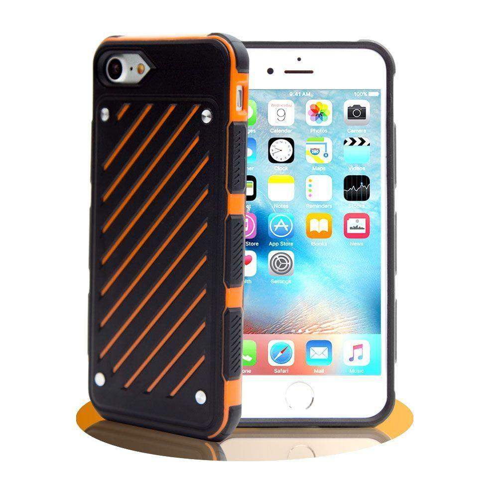 - Stripe Shield Heavy duty rugged case, Black/Orange for Apple iPhone 7/iPhone 8