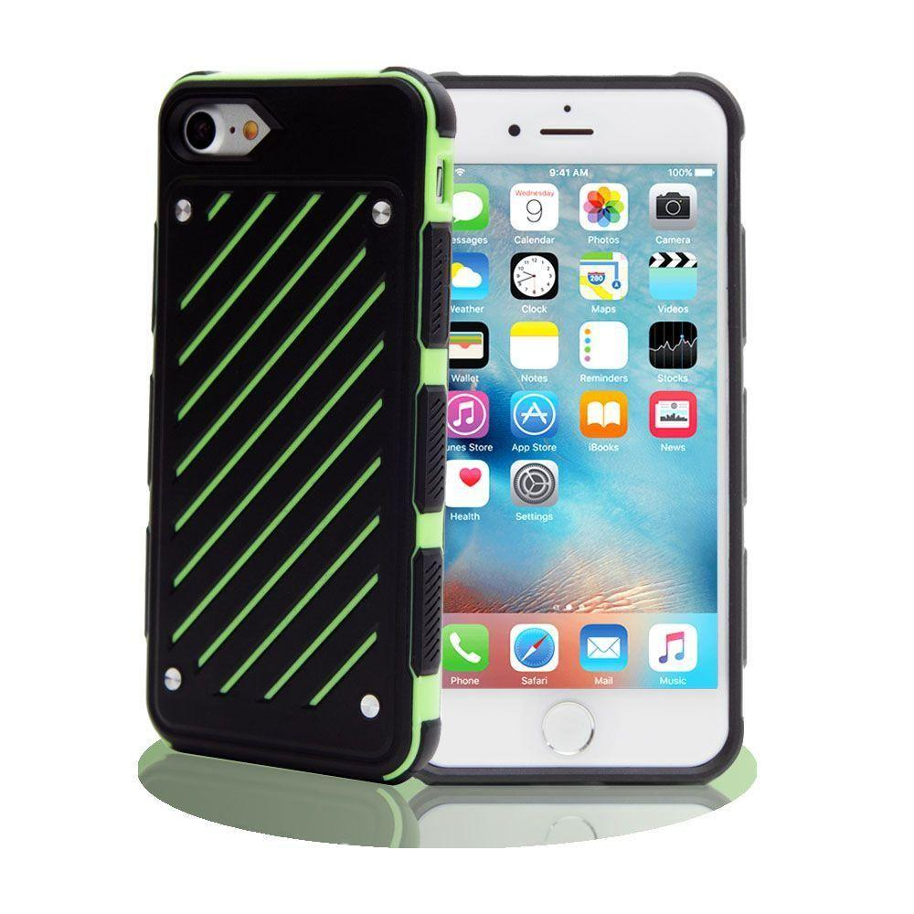 - Stripe Shield Heavy duty rugged case, Black/Lime Green for Apple iPhone 7/iPhone 8
