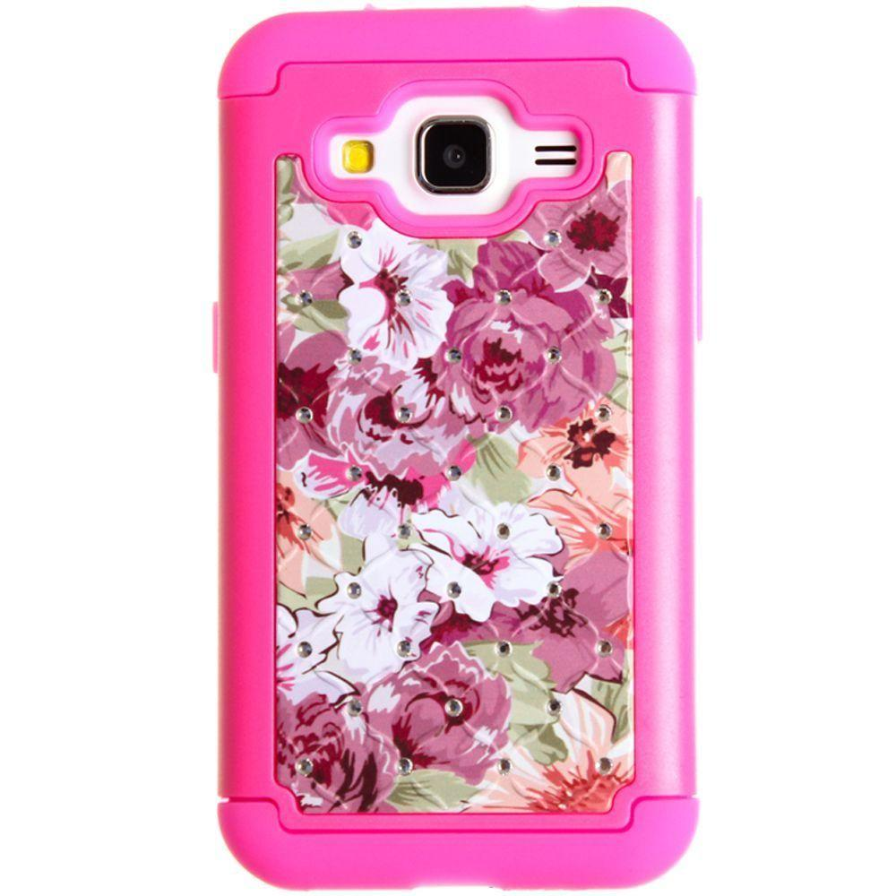 - Floral Canvas Studded Diamond Rugged Case, Hot Pink