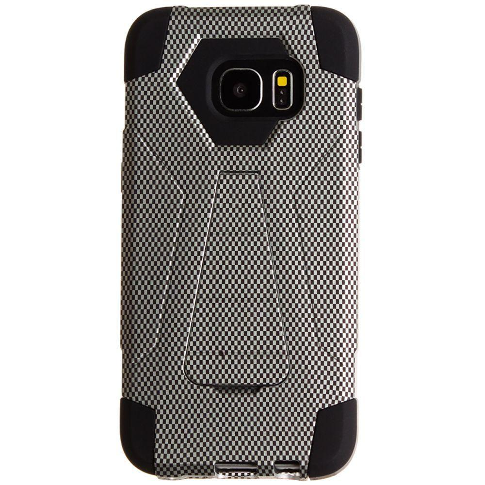 - Carbon Fiber Print Mighty Dual Layer Rugged Case, Black for Samsung Galaxy S7 Edge