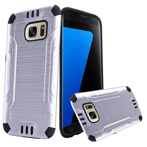Samsung Galaxy S7 - Brushed Metal Design Combat Hybrid Rugged Case, Silver/Black for Samsung Galaxy S7