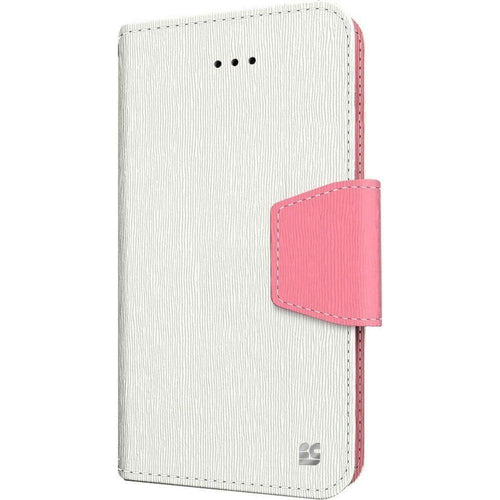 Apple Iphone 5 - Infolio Leather Folding Wallet Phone Case, White/Pink for Apple iPhone 5/iPhone 5s/iPhone SE