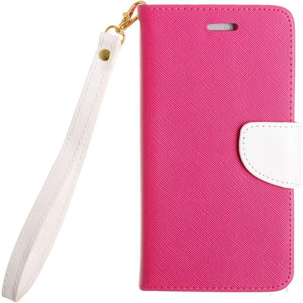 - Premium 2 Tone Leather Folding Wallet Case, Pink/White for Samsung Galaxy S6 Edge