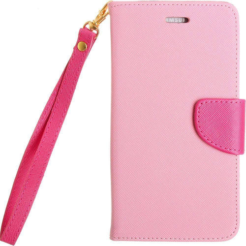 Samsung Galaxy Note 4 - Premium 2 Tone Leather Folding Wallet Case, Pink/Hot Pink for Samsung Galaxy Note 4