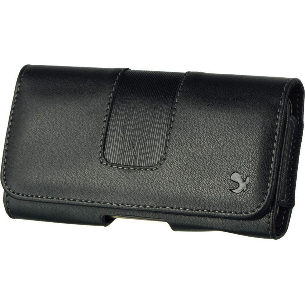 - LUXMO Hand-Crafted Horizontal Leather Smart Phone Case with Belt Clip, Black