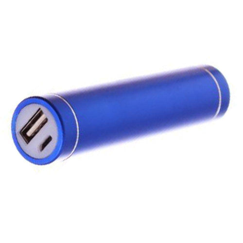 Zte Avid 4g - Universal Metal Cylinder Power Bank/Portable Phone Charger (2600 mAh) with cable, Blue