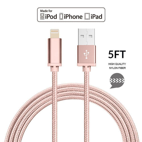 Apple Ipod Nano 7 - Apple MFI Certified 8-Pin Lightning to USB Sync and Charge Heavy Duty Nylon Cable 5ft., Rose Gold