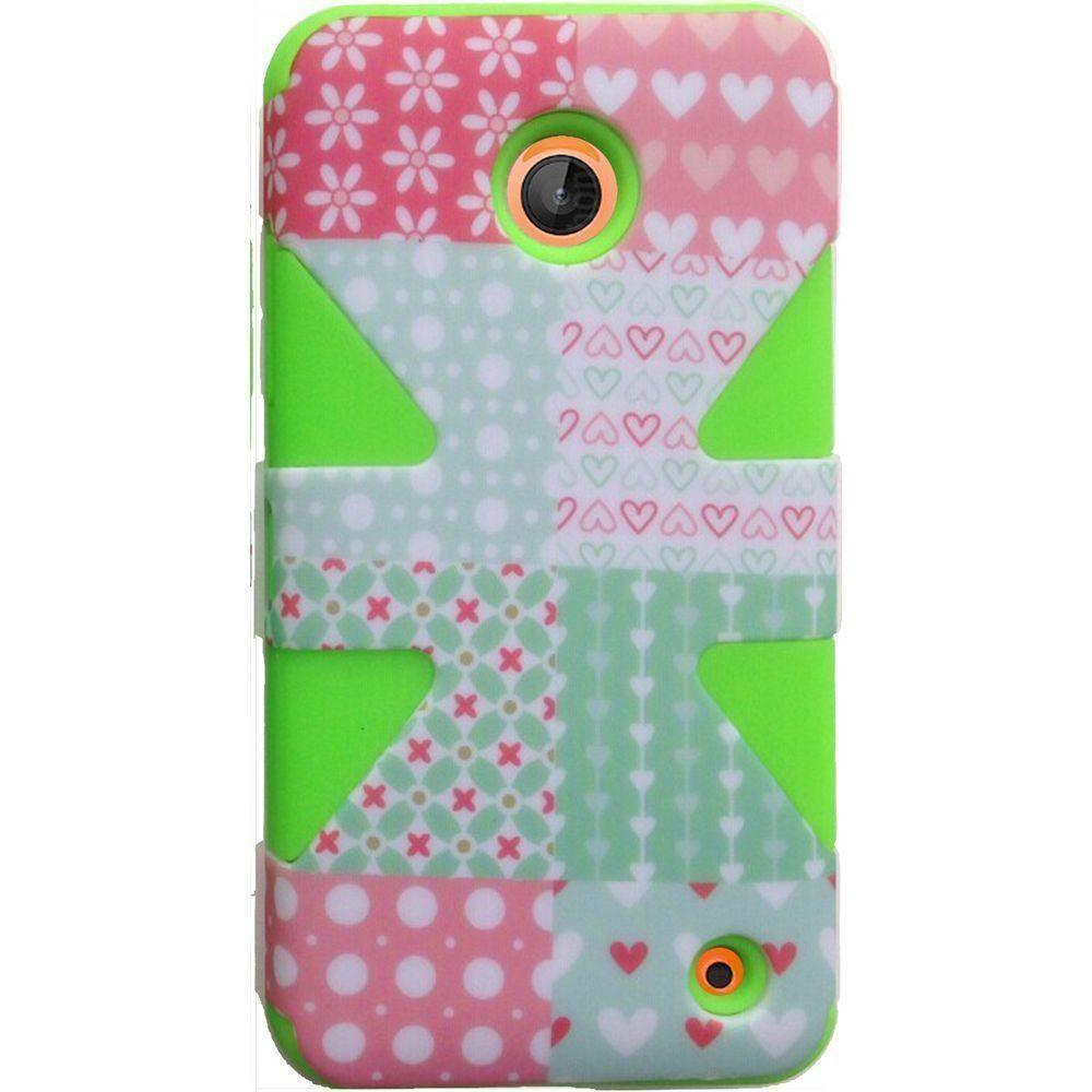 - Chic Hearts Dynamic Rugged Case, Pink/Green
