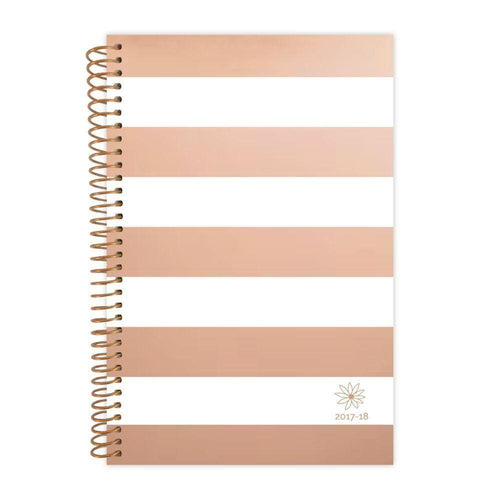 Clearance Accessories - 2018 Rose Gold Stripes Fashion Daily Planner, Rose Gold/White