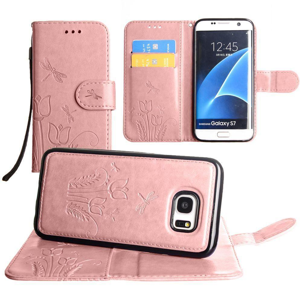 - Embossed dragonfly over tulip design wallet case with Matching detachable magnetic case and wristlet, Rose Gold for Samsung Galaxy S7